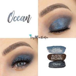 Ocean Eye Look, Oasis Glitter ShadowSense, Rustic Brown ShadowSense, Onyx Shadowsense