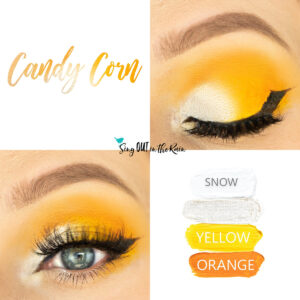 Candy Corn Eye Look, Yellow ShadowSense, Orange ShadowSense, Snow ShadowSense, Moonbeam Shimmer ShadowSense
