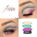 Anna Eye Look, Seafoam Shimmer SHadowsense, SeaBreeze Shimmer ShadowSense, Plasma Pink Shimmer ShadowSEnse, Onyx ShadowSense